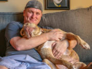 Dolly relaxes at home with Tim Davoren, a Chicago Canine Rescue volunteer. Dolly has earned her AKC Canine Good Citizen certificate and has become a pit bull ambassador.