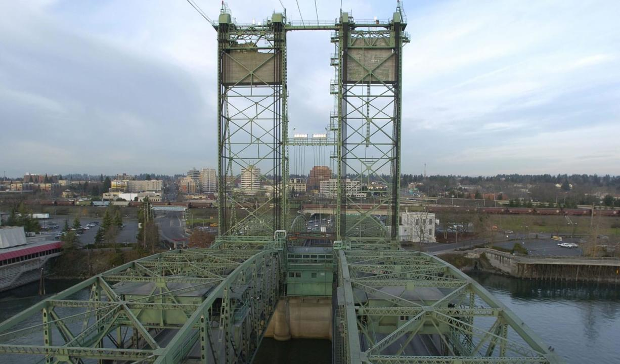 The I-5 bridge looking north from the southeast tower into Vancouver. Each counterweight atop the towers weighs nearly 700 tons.