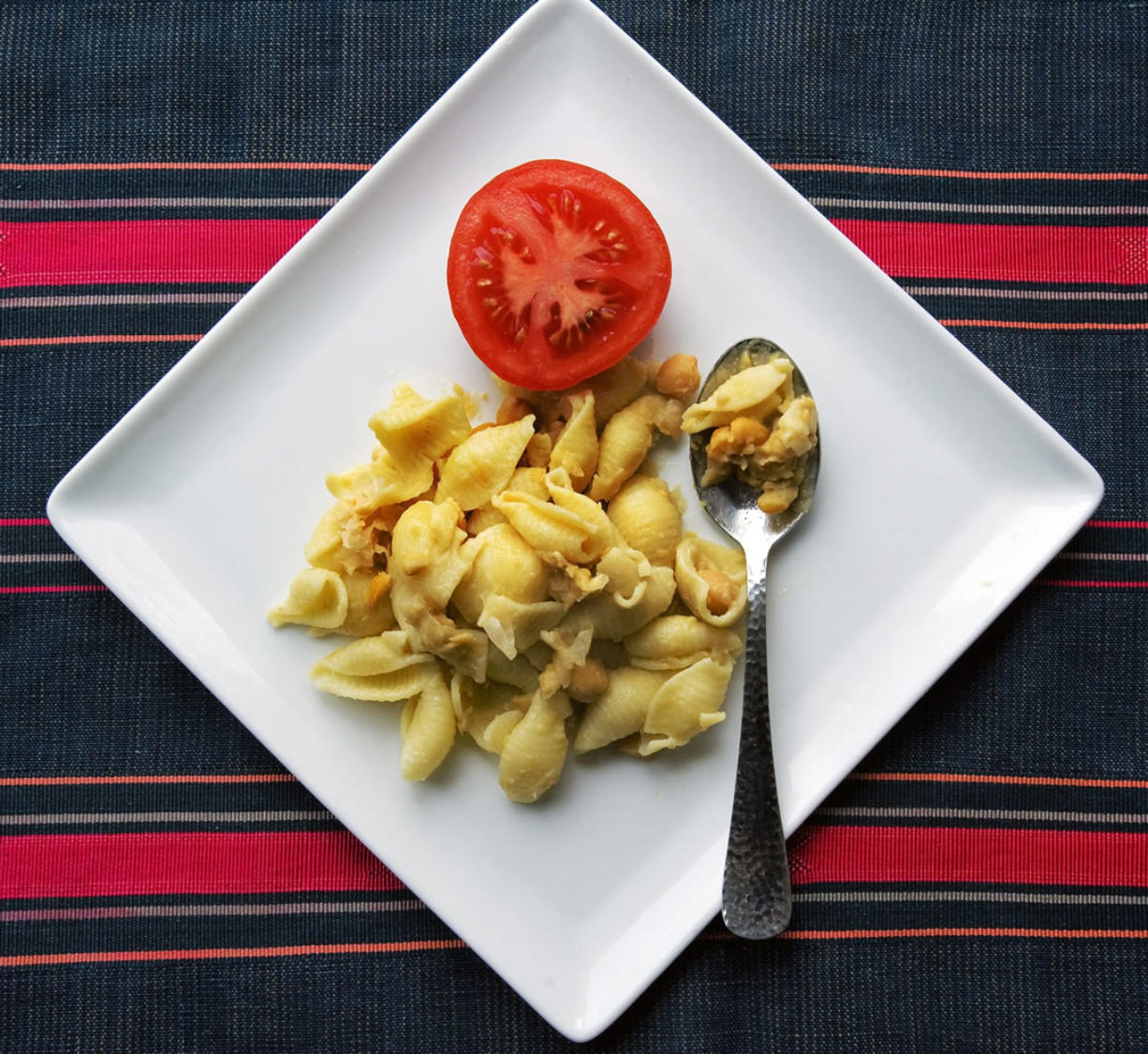 Bill O'Leary/The Washington Post Chickpea Pasta transforms canned beans with further cooking and a healthy pour of olive oil.