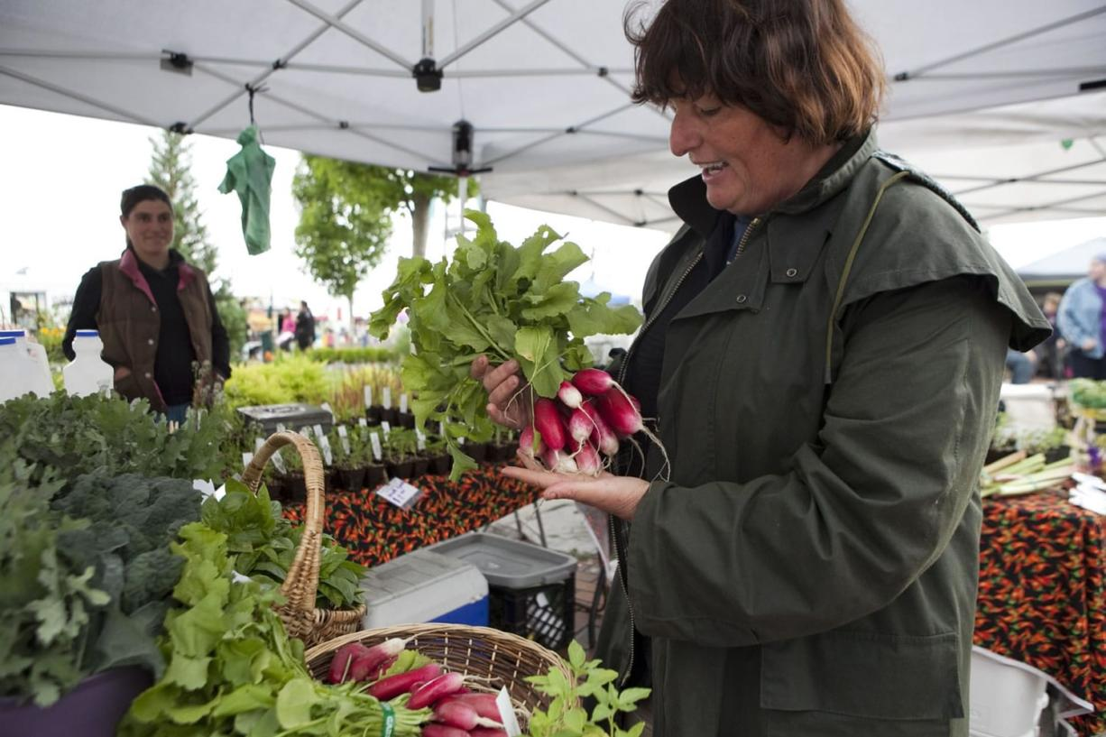 Anne Mari De Boever looked through the fresh vegetables offered for sale by Yacolt Mountain Farm and Nurseries, run by Caroline Swansey (in back) at the Harvest Days Celebration in Battle Ground Village last July.
