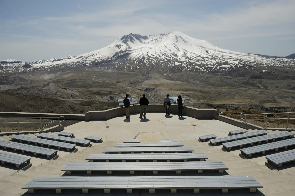 Steven Lane/The Columbian Visitors to Johnston Ridge Observatory near Mount St. Helens will be greeted by a new outdoor amphitheater finished late last year. Johnston Ridge and other facilities near the mountain are free today, the anniversary of the mountain's 1980 eruption.