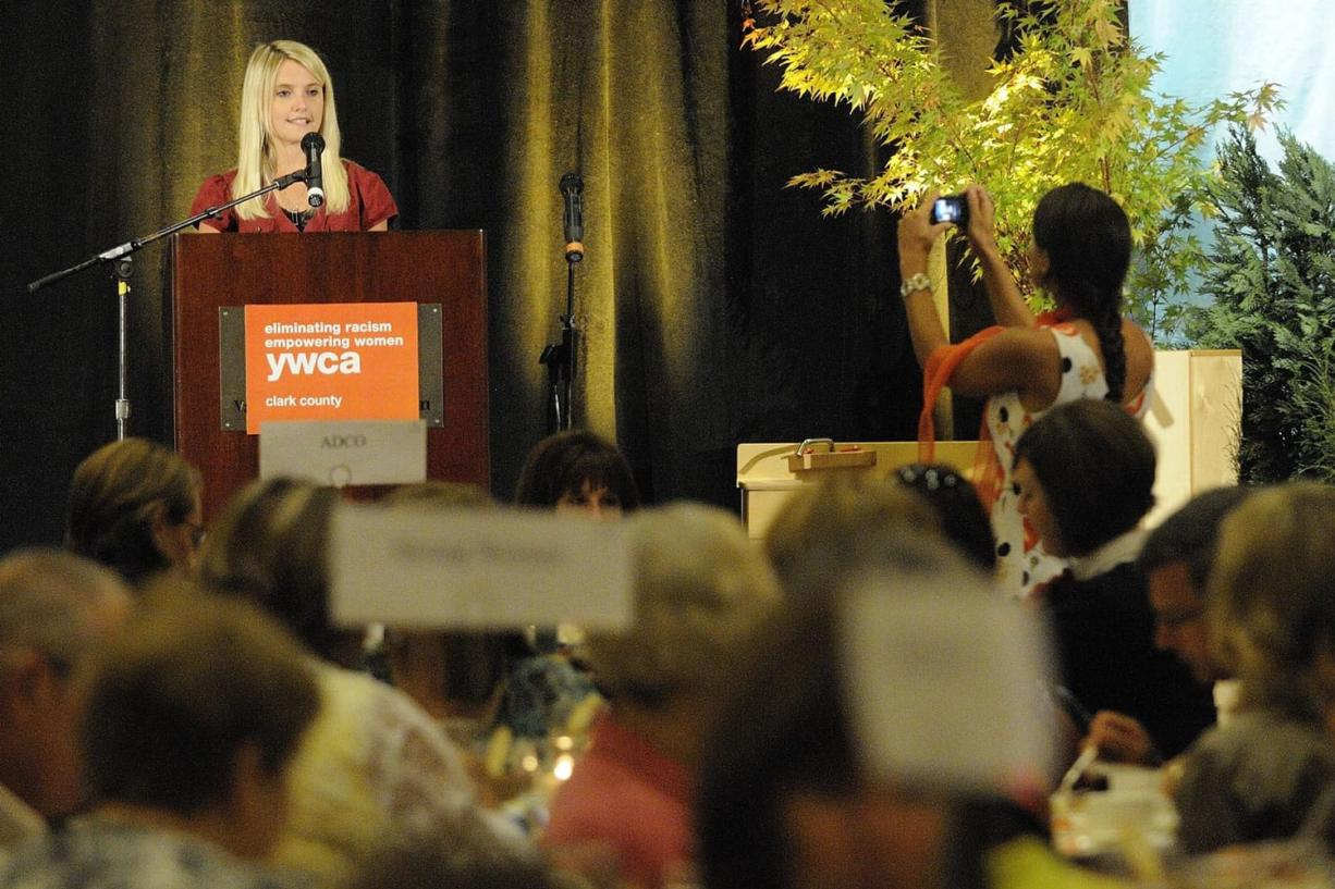 Author and activist Erin Merryn tells her story of sexual abuse at a YWCA luncheon on Wednesday in Vancouver.