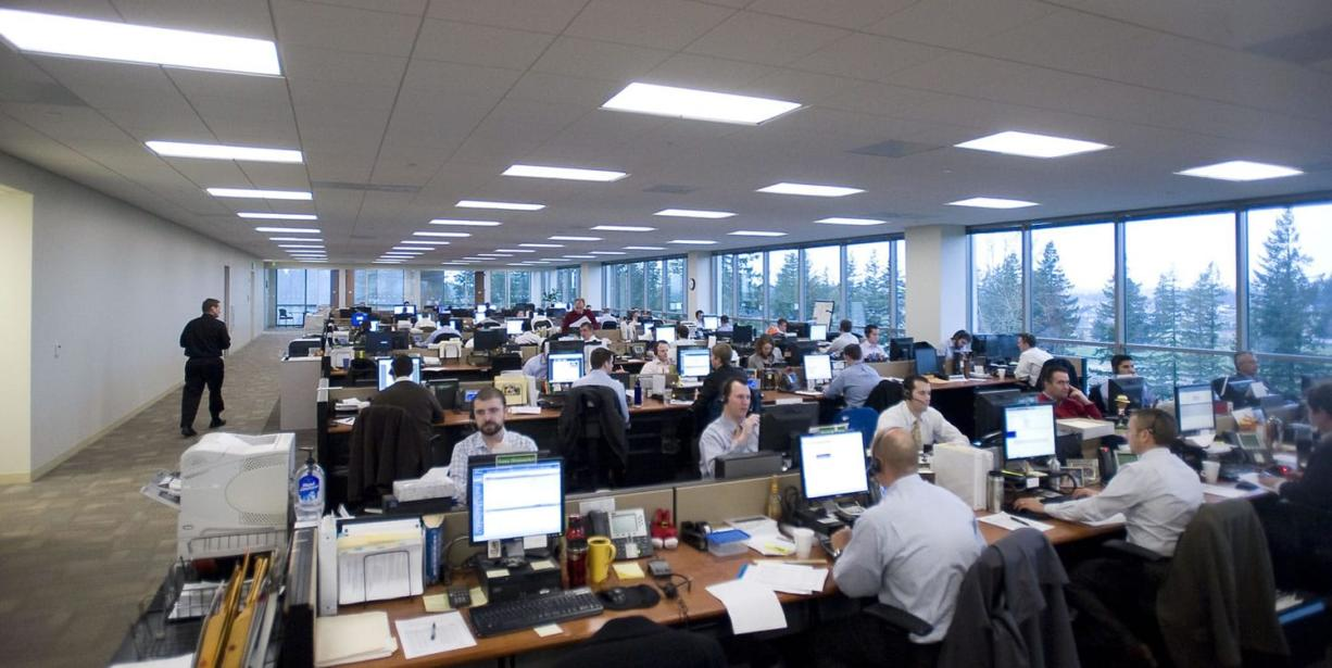Investment managers work side-by-side on all five floors of the new Fisher Investments office in Camas.