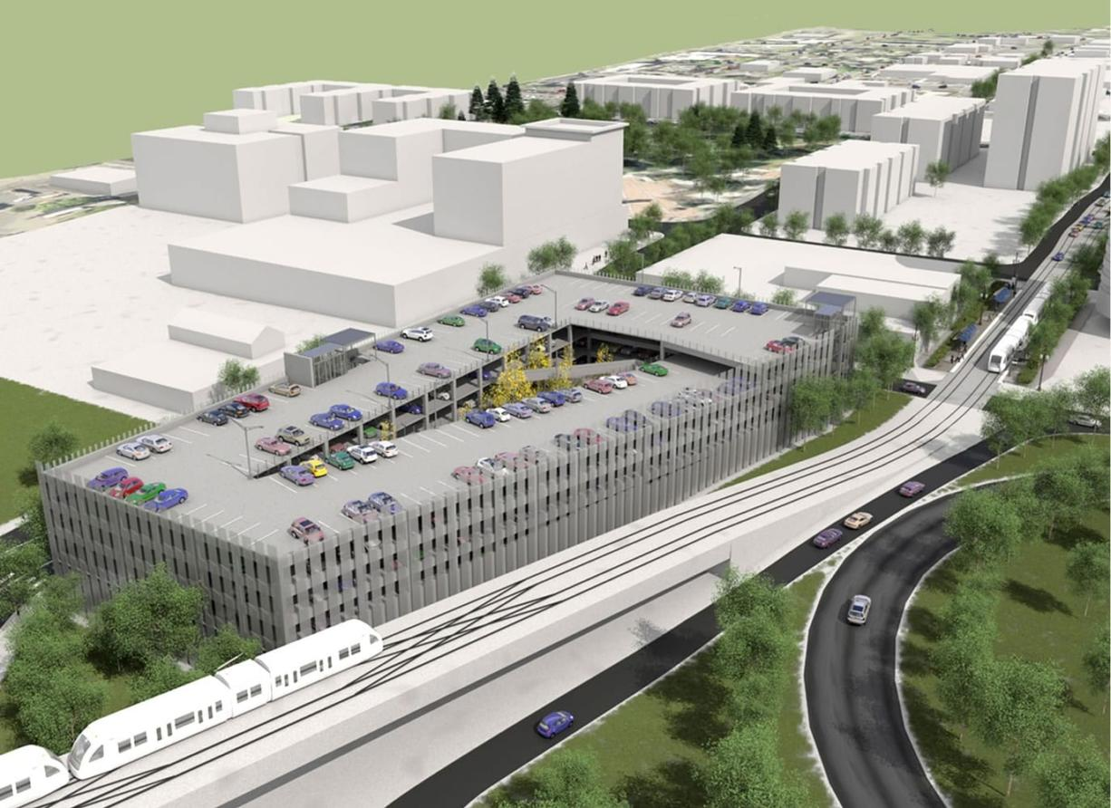 Columbia Park and Ride: Will span nearly two blocks at Columbia and Fifth streets and hold 570 vehicles.