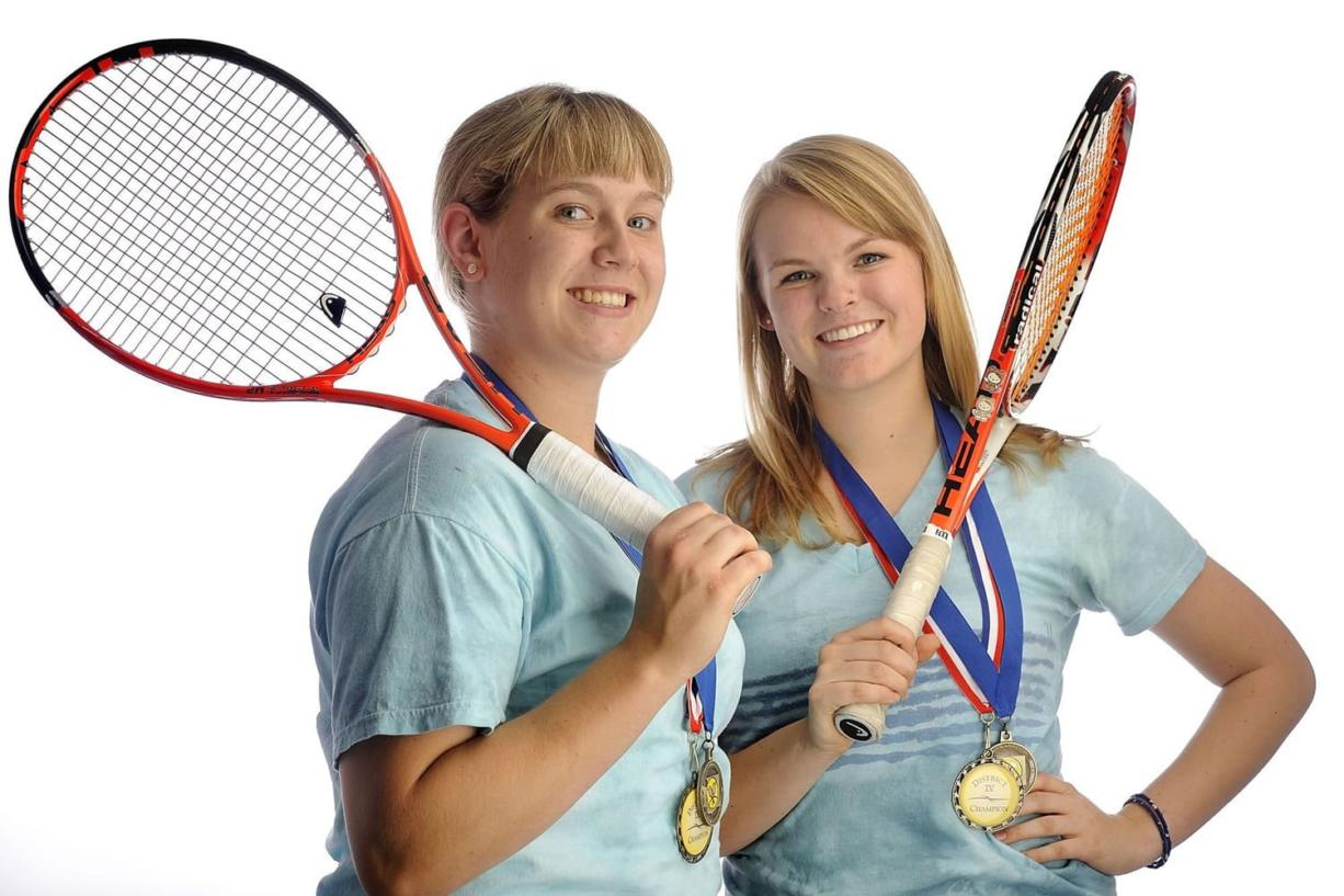 Brittany Ellingsen, left, and Anna Romanovsky, right, were solid singles players at Skyview.