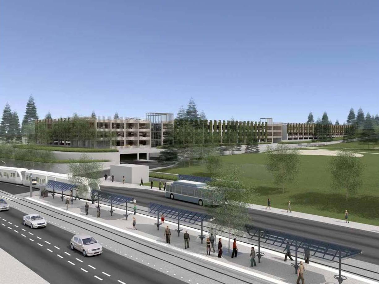 The Central Park and Ride, at the light rail's Clark College terminus, would hold 1,900 vehicles.