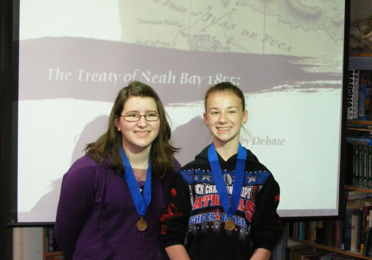 Pleasant Valley Middle School eighth-graders Jessi Shelton, left, and Mercedes McLeod earned fourth place in the documentary category of the National History Day competition in College Park, Md.