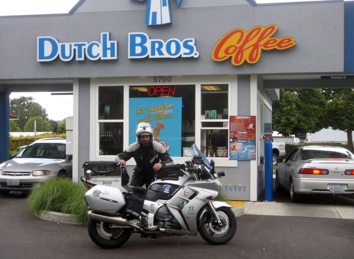 Bagley Downs: Paul Peloquin stopped at the Vancouver Dutch Bros. as part of a fundraiser for a Salem, Ore., women's shelter.
