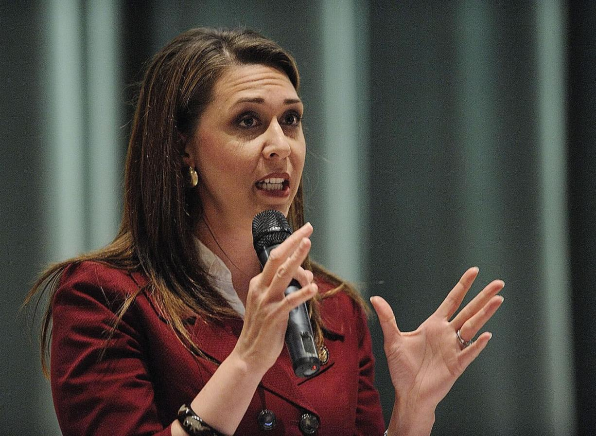 U.S. Rep. Jaime Herrera Beutler speaks at a Vancouver town hall meeting earlier this year. The Camas Republican voted to raise the debt ceiling, but expressed reservations about the bill.