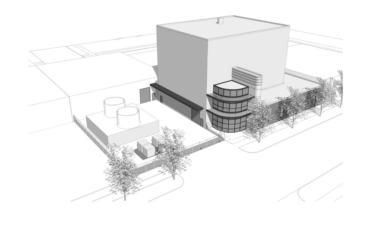 A drawing of a biomass plant that Clark County would like to build in downtown Vancouver, at the corner of West 11th and Harney streets.