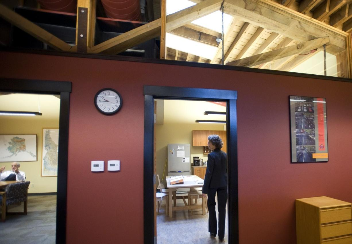 Gillian Wallis and her husband, who own Wallis Engineering, bought the Lucky Lager building in 2007 and spent more than $700,000 remodeling the interior.