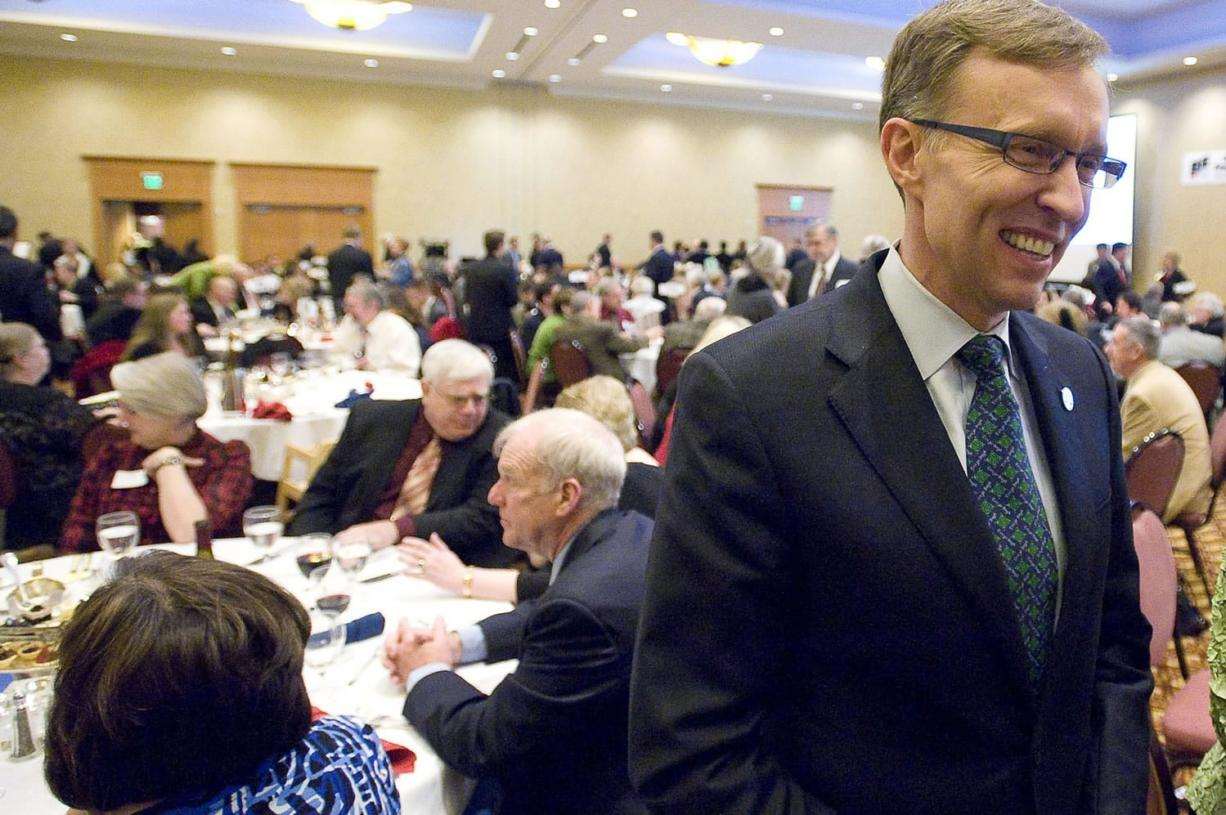 Attorney General and gubernatorial candidate Rob McKenna works the room before delivering the keynote speech at the annual Lincoln Day dinner at the Hilton Vancouver Washington on Saturday.