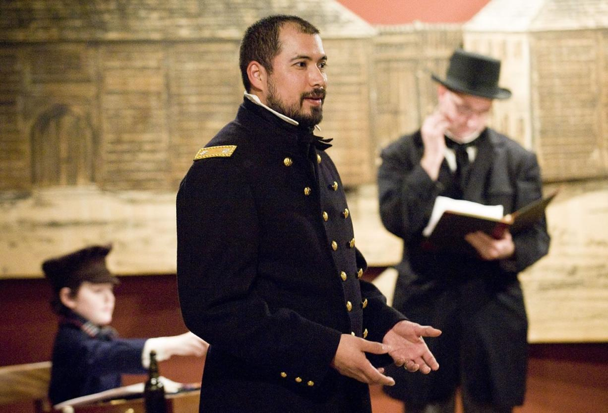 """Park ranger Aaron Ochoa, as Civil War Gen. Ulysses S. Grant, discusses the secret he and his old Vancouver Barracks pal exchanged """"coded"""" letters about: whiskey."""