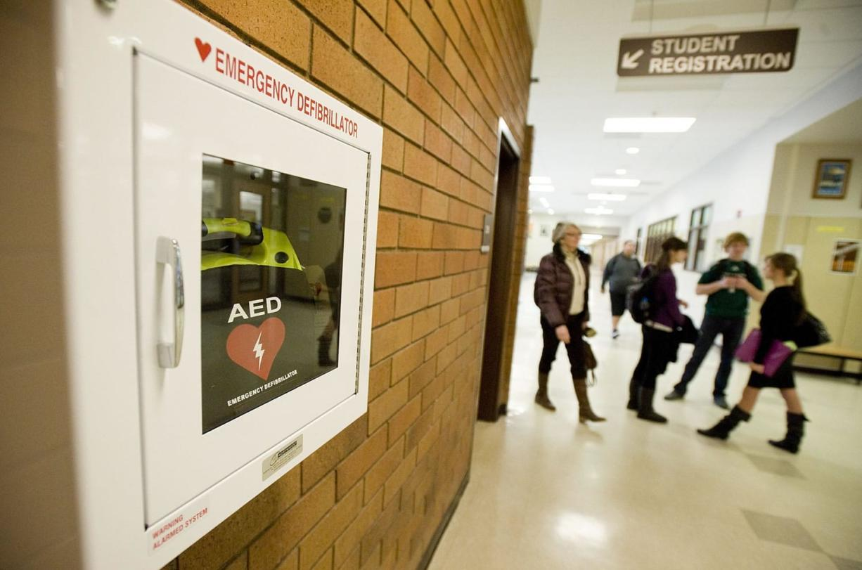 Evergreen High School has installed two automated emergency defibrillators in its hallways.