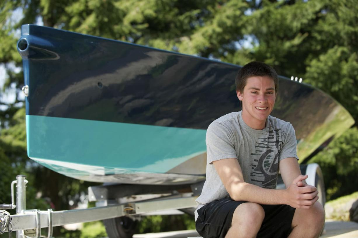 Camas High School senior Stephen Moran spent seven months and 300 hours building his i550 racing sailboat. Moran built the boat as his senior project.