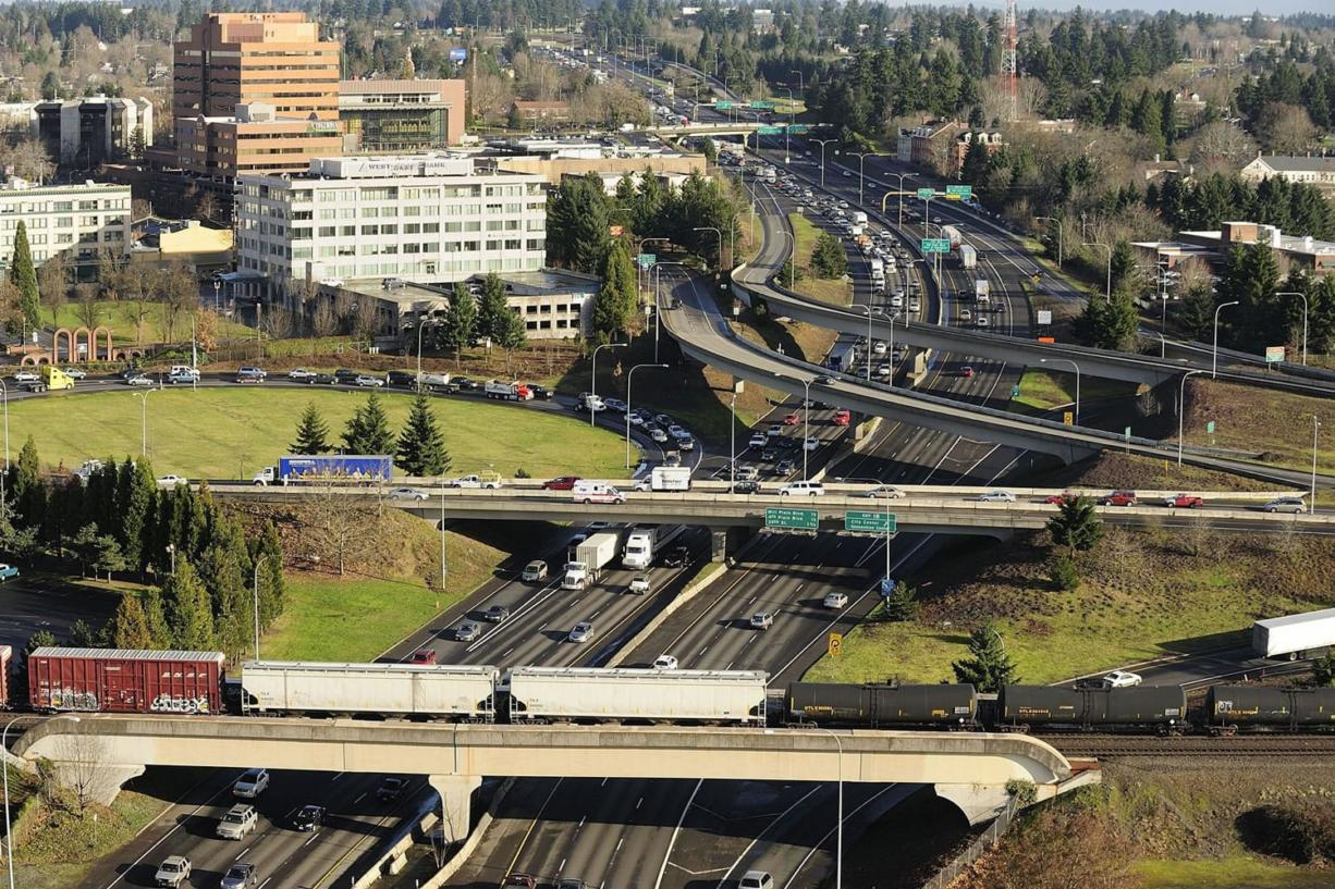 Traffic heads south toward Portland on Interstate 5 just north of the bridge in downtown Vancouver.