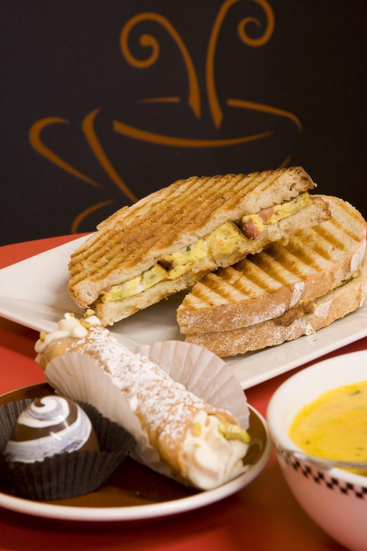 Frittata Panini Sandwich, Sweet Potato and Butternut Squash Soup, Cannoli and Chocolate Truffle at DiTazza Gormet Coffee and Cafe.