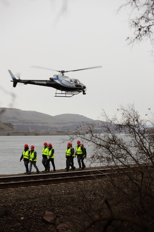 A helicopter is used to film a segment of a GE television commercial in the Columbia River Gorge.