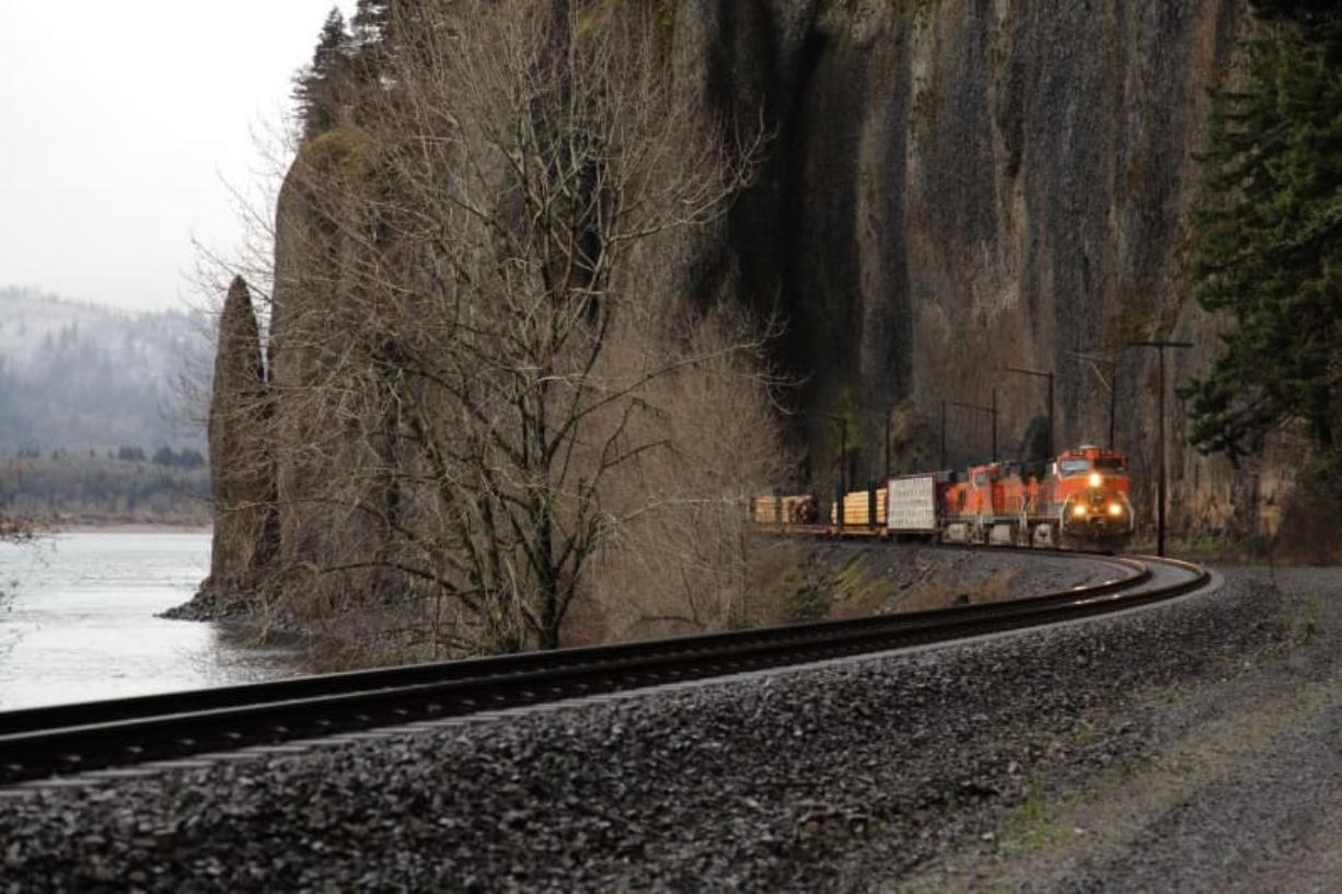 A 6,300-foot-long BNSF Railway train pulled by a GE-made Evolution diesel electric locomotive emerges from the Cape Horn tunnel on its way to Iowa in a TV commercial.