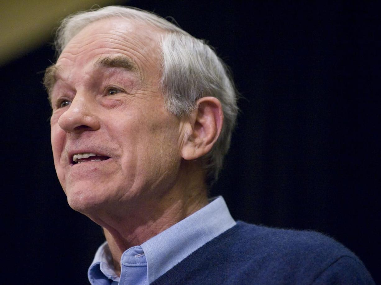 Presidential candidate Ron Paul speaks during a rally at The Hilton Vancouver Washington on Thursday.