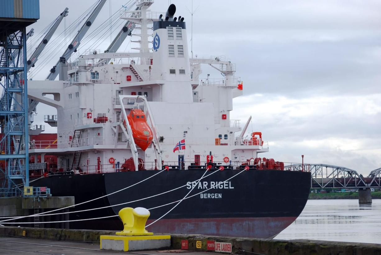 The grain ship Spar Rigel, docks for loading at the Port of Vancouver, which exported 3.6 million metric tons of wheat in 2011, a 2.7 percent decrease from the 3.7 million metric tons of wheat shipped in 2010.