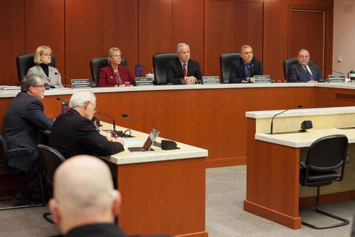 The new Clark County Council for 2016 sits down for its first meeting of the year on Tuesday, Jan.