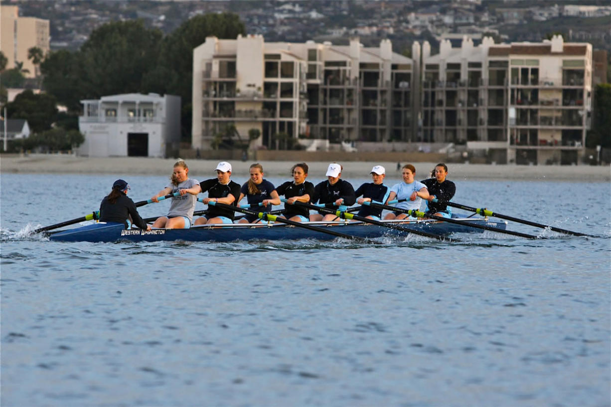 Columbia River High School graduate Jean Piette, second from left in stroke seat, is in her fourth year competing with Western Washington University's varsity eight shell.