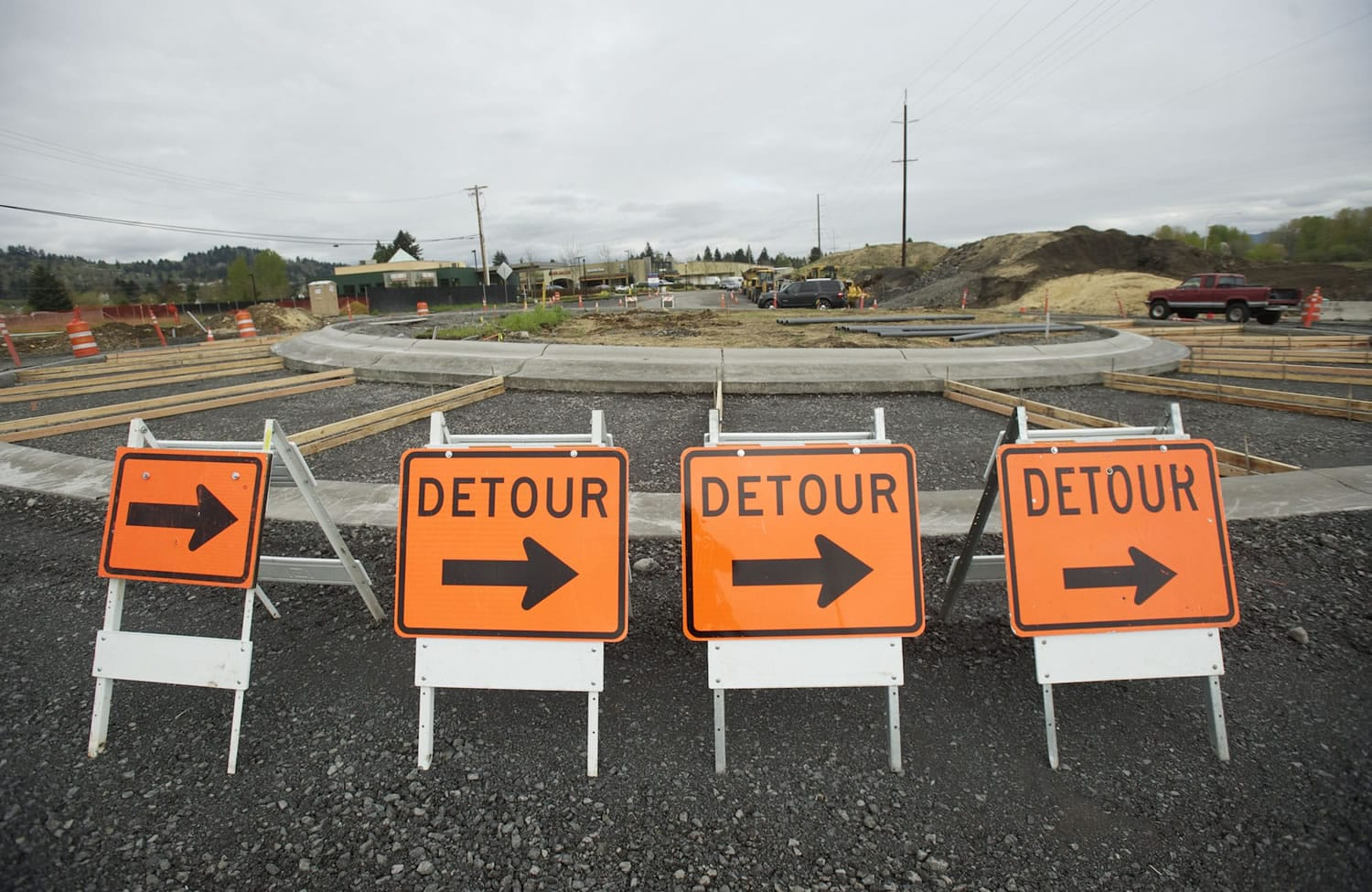 Cars navigate a new roundabout on Hwy. 14 in Camas/Washougal.