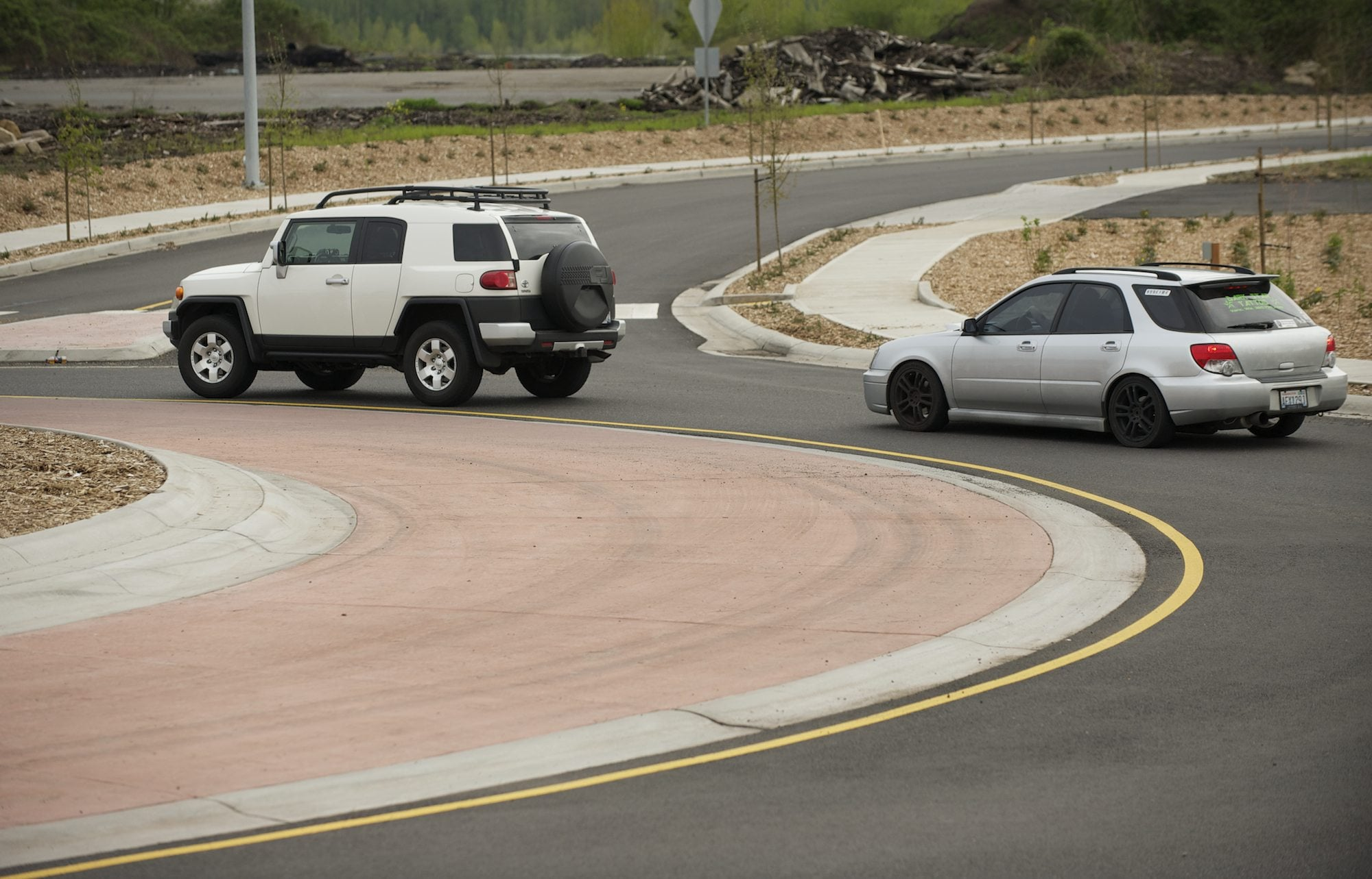 Cars navigate a new roundabout Friday on Hwy. 14 in Camas/Washougal.