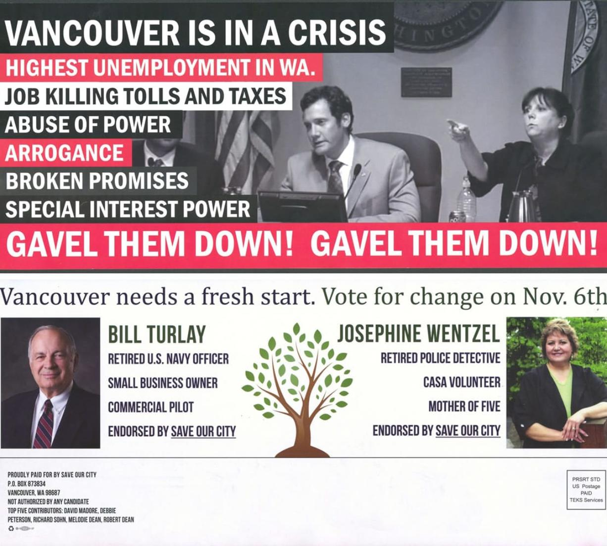 Top: Vancouver residents have received this flier, picturing Mayor Tim Leavitt and Councilor Jeanne Harris, neither of whom are up for election this year.