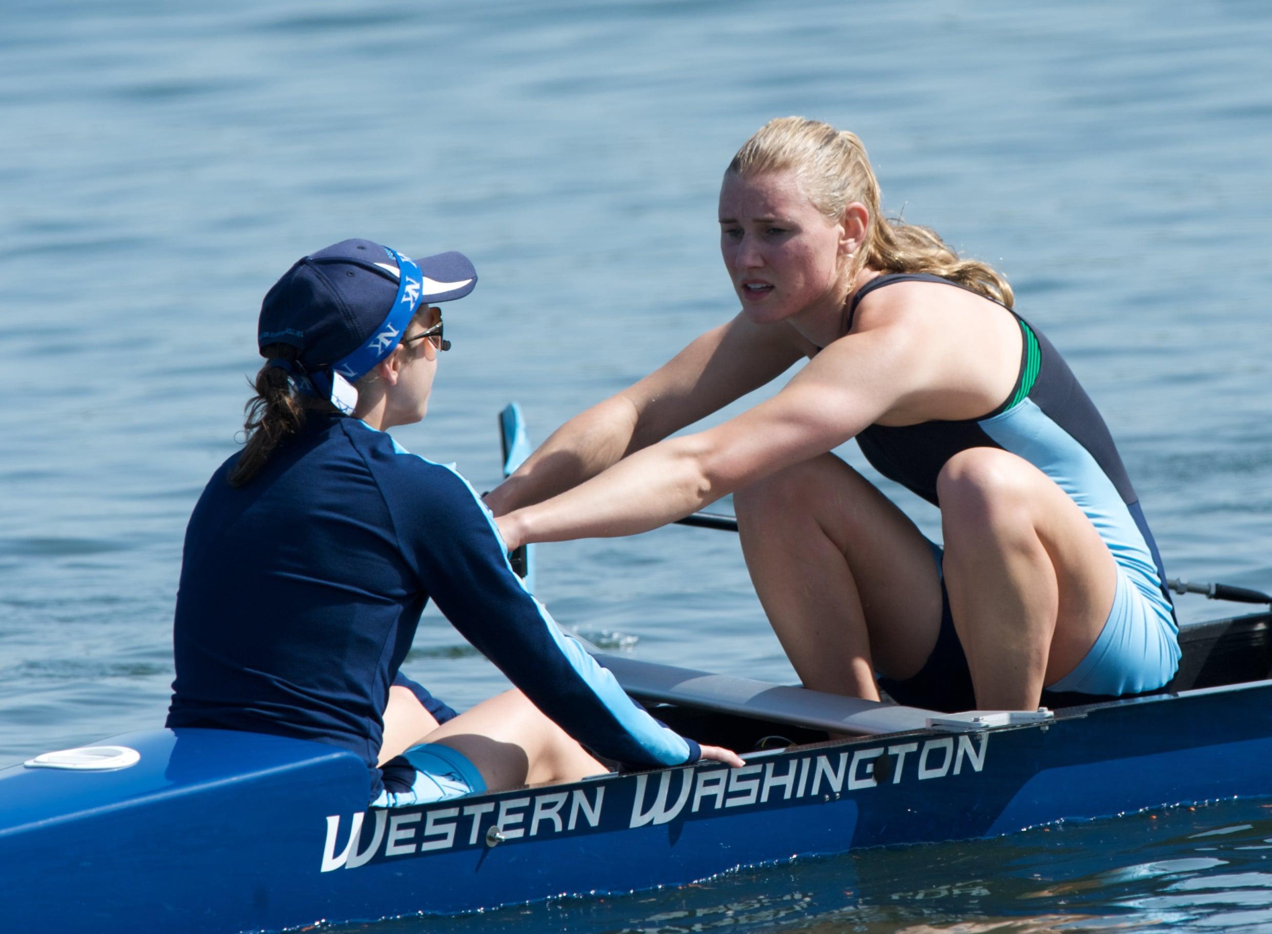 Western Washington crew varsity eight stroke Jean Piette, right, and coxswain Alix Crilly.