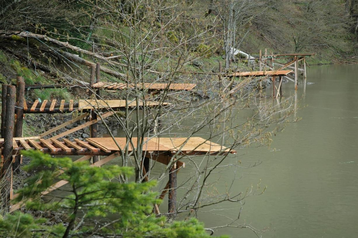 Yakama tribal fishermen have built more than a dozen scaffolds to use at Drano Lake in the Columbia River Gorge. These are on the west side of the lake. The tribal season begins April 16.