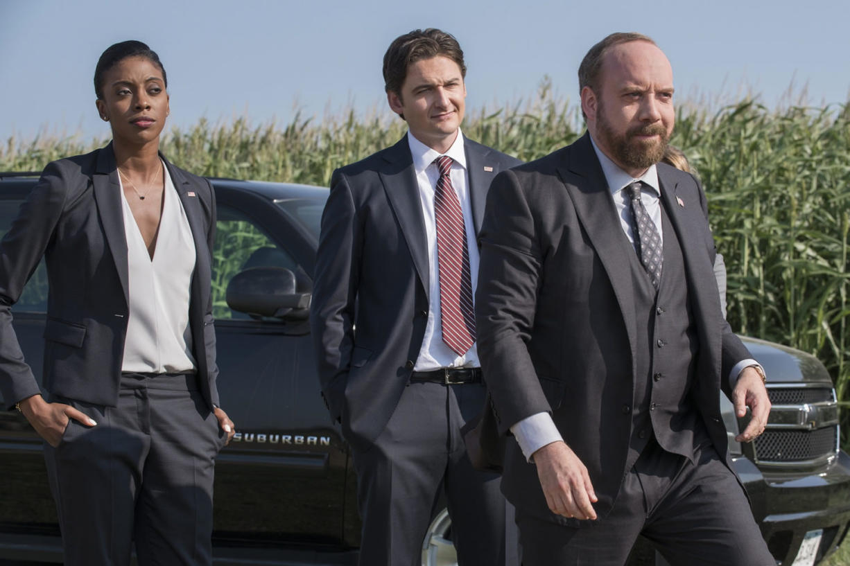 "Condola Rashad, from left, Toby Leonard Moore and Paul Giamatti star in Showtime's series ""Billions."" (Jeff Neumann/Showtime)"