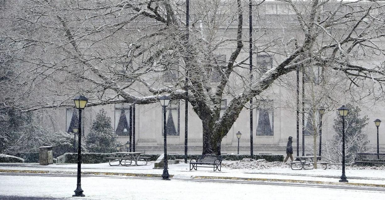 A pedestrian walks as snow falls at the state Capitol in Olympia on Jan. 3. (STEVE BLOOM/The Olympian)