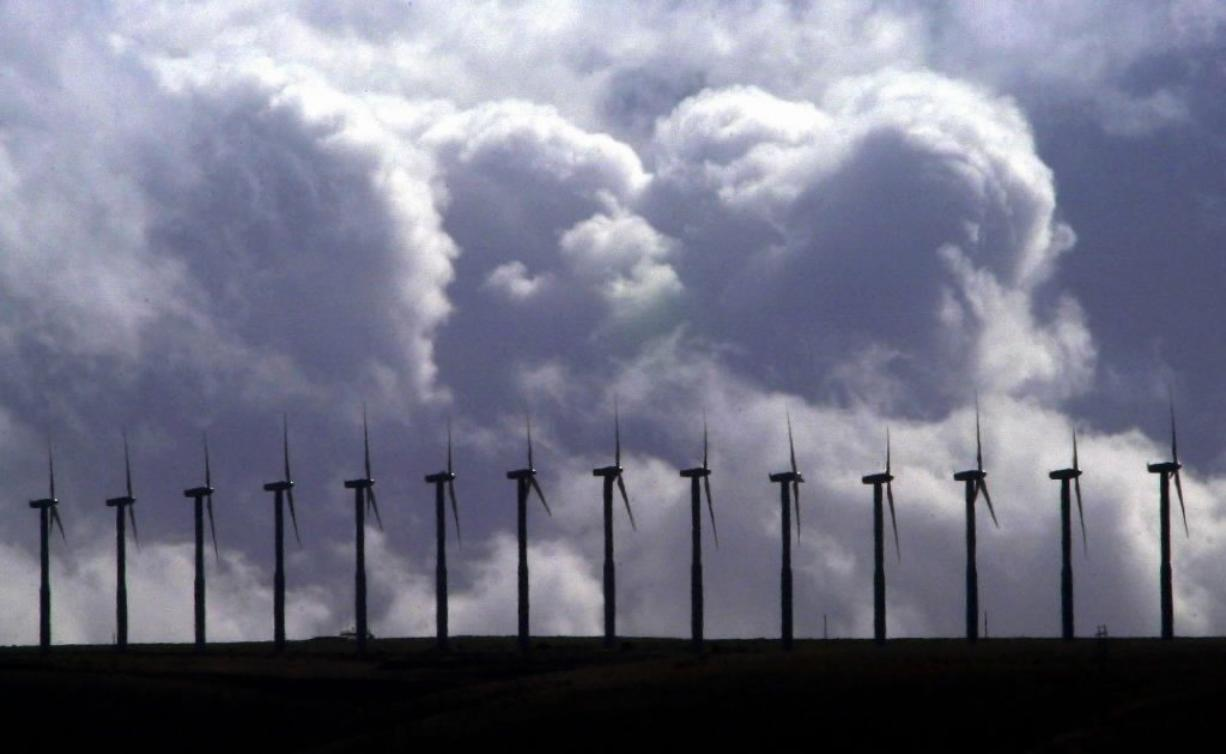Wind turbines spin under cloudy skies along a ridge line in the Columbia River Gorge at FPL Energy's Stateline Wind Project on the Oregon-Washington border near Touchet on March 6, 2003. Washington's Energy Facility Site Evaluation Council recommended Thursday that Gov.