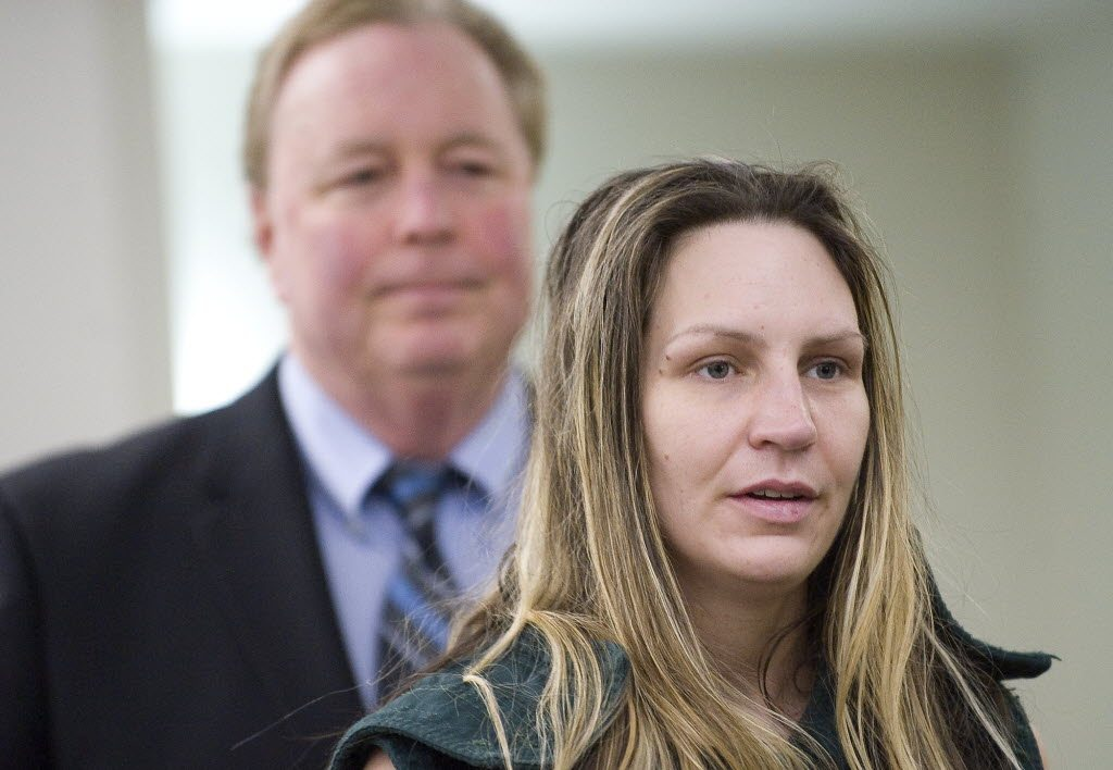 Anne L. Bradley makes her first appearance on suspicion of being the getaway driver in several bank robberies at the Clark County Courthouse on Monday.