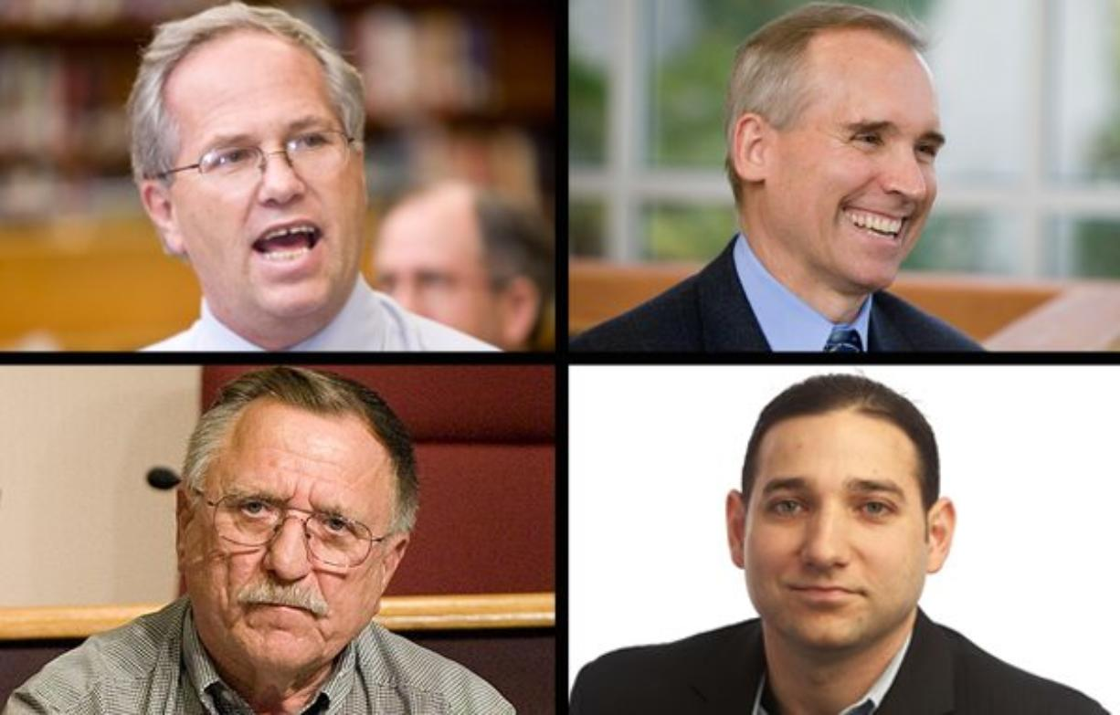 Incumbent County Commissioner Marc Boldt, top left, will run against David Madore, top right, Pat Campbell, bottom left, and Roman Battan later this year.