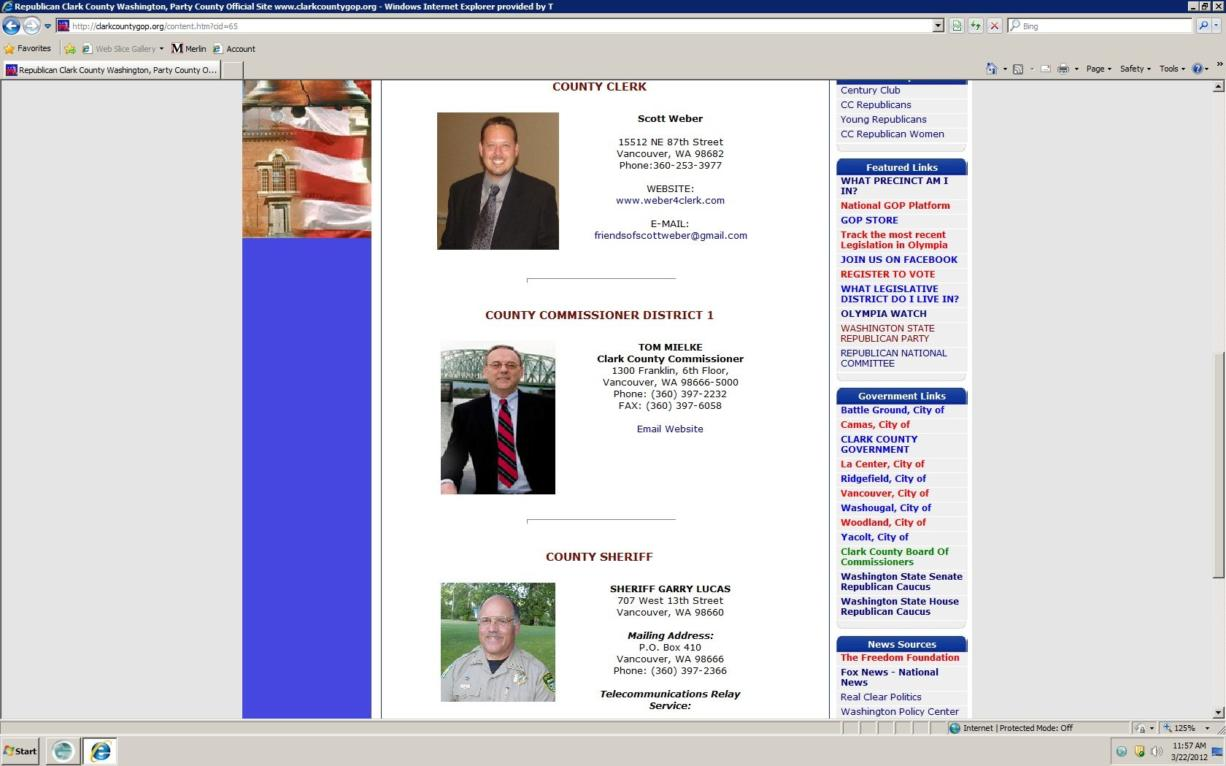 Clark County Commissioner Marc Boldt has been removed from the Clark County GOP's website