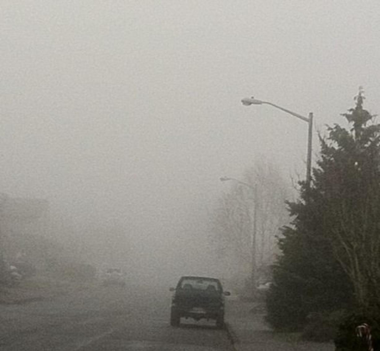 Fog persisted in parts of Clark County Friday.
