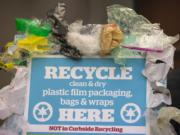 """The """"Beyond Bags"""" campaign encourages Clark County residents to recycle their polyethylene packaging and grocery bags at Safeway stores rather than throw them into blue recycling carts."""