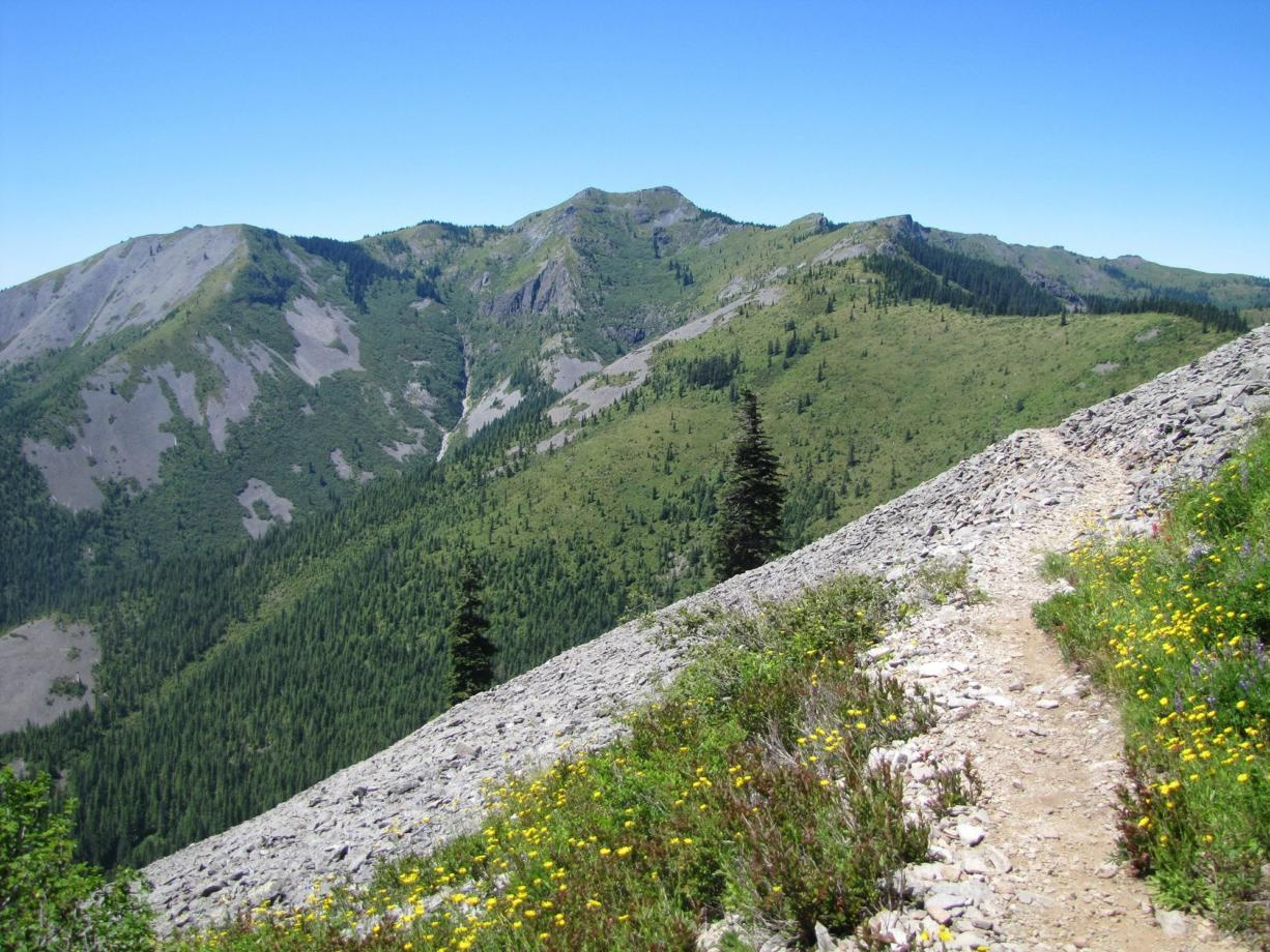 Silver Star Mountain, center,  is on the route of the 300-mile Chinook Trail loop, which the Chinook Trail Association said it will do more to promote this year.