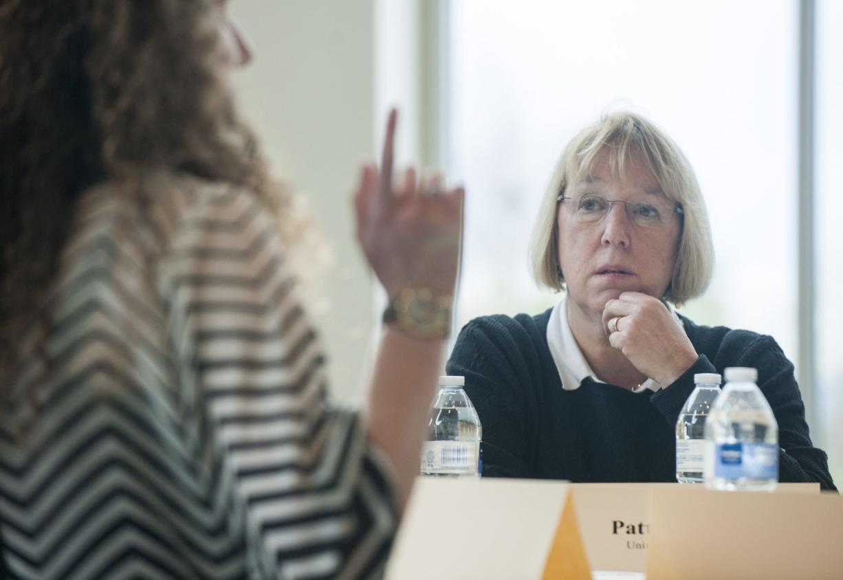 U.S. Sen. Patty Murray, D-Wash., spoke with Clark College students about college affordability on Wednesday, including Clark College student body President Sarah Swift, pictured.