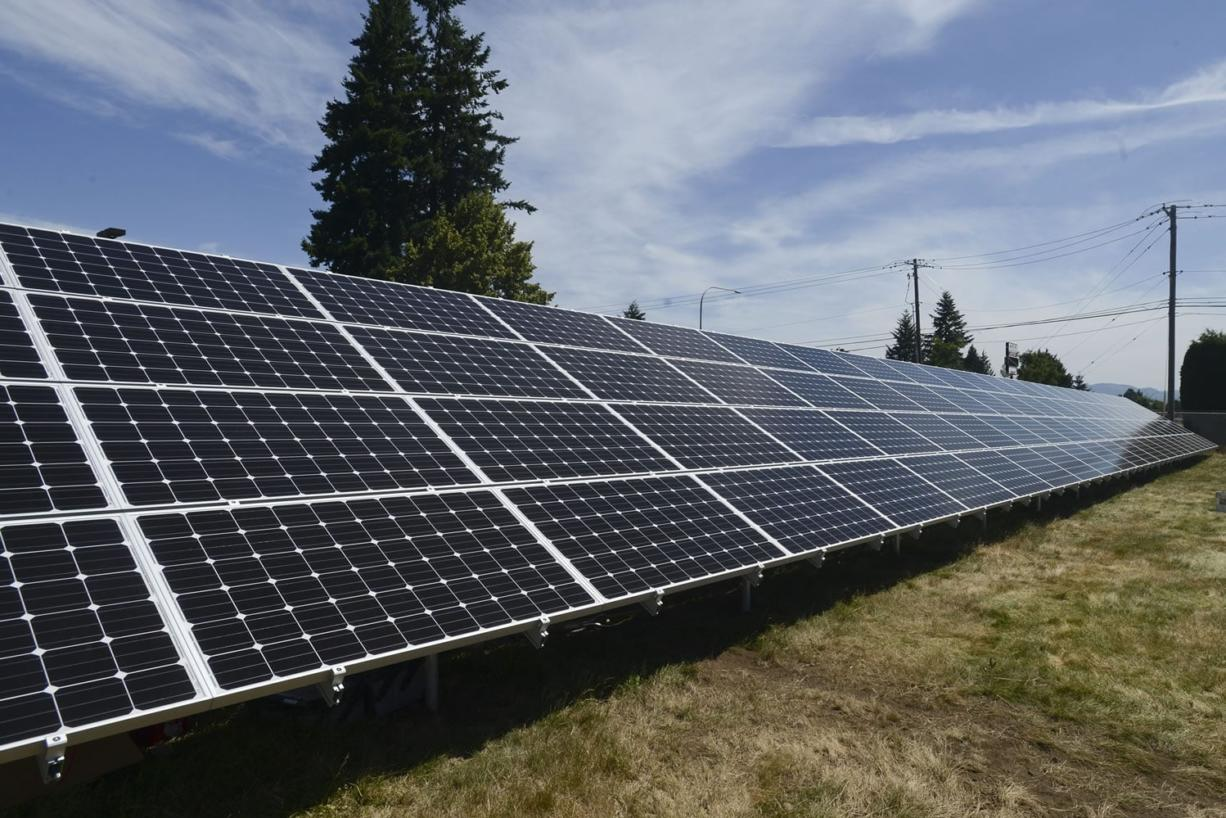 Clark Public Utilities has built its first community solar panel system outside its Orchards operations center. In January, the utility halted applications for its home solar incentive program after it found it had approved too many rooftop solar installations under the state subsidy program.