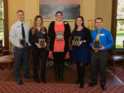 Nominees for the 2016 Marshall Public Leadership Award are, from left, Craig Ebersole, Jessica Tijerina-Turpeinen, Chelsea Chunn, Paige Spratt and Scott Schachterle.