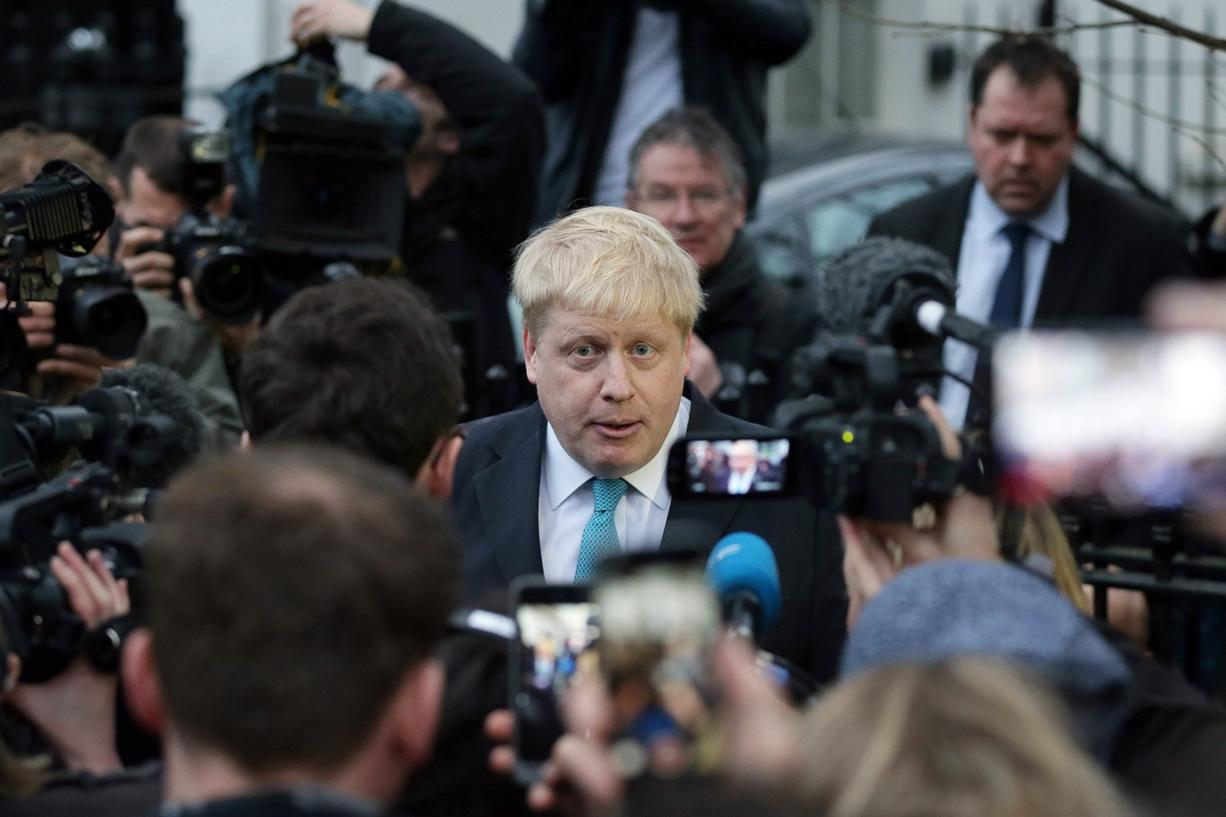 London Mayor Boris Johnson makes a statement outside his home in London on Sunday. London Mayor Boris Johnson said Sunday he is joining a campaign to encourage Britain to leave the European Union.
