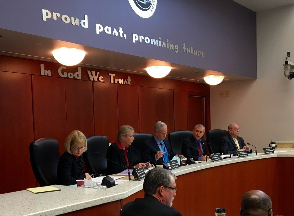 The Clark County council, from left, Jeanne Stewart, Julie Olson, Chair Marc Boldt, David Madore and Tom Mielke.