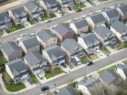 Aerial view of housing in Vancouver.