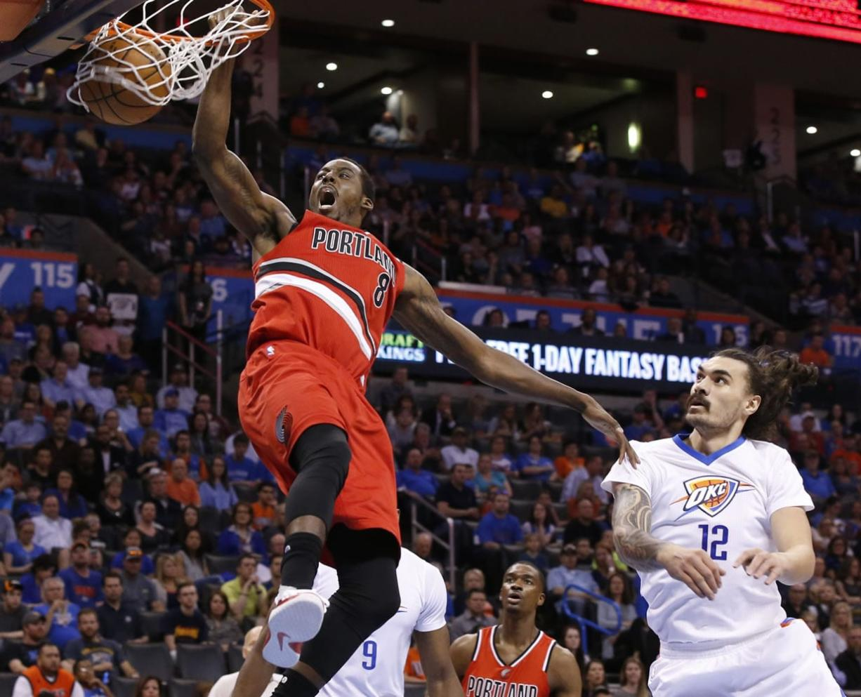 Portland's Al-Farouq Aminu, dunking in front of Oklahoma City's Steven Adams, is the Blazers best option at power forward according to one statistics website that tracks NBA players.