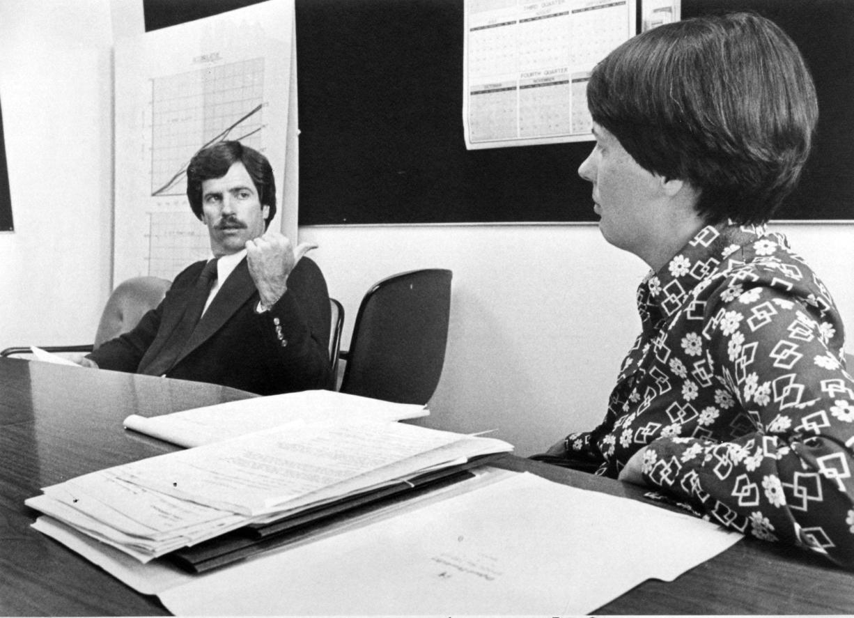 County Commissioners John McKibbin and Connie Kearney at a meeting in 1979.