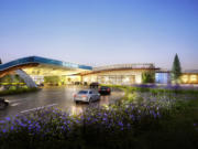An artist's rendering of the Cowlitz Tribe's $510 million casino-resort project under construction along Interstate 5.
